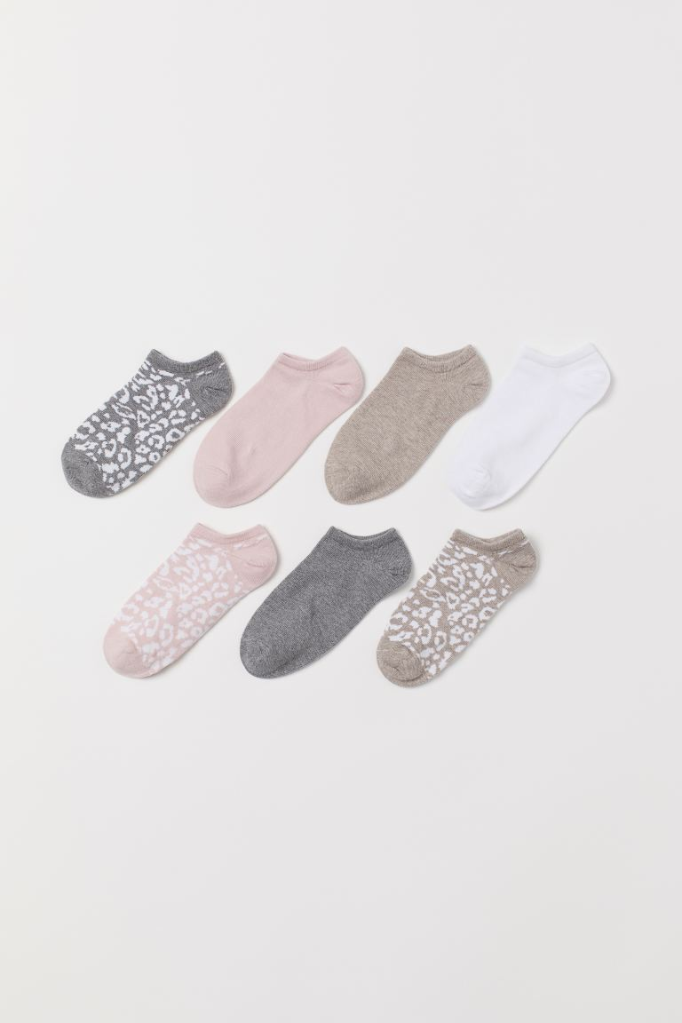 7-pack Ankle Socks - Beige/leopard print - Ladies | H&M US