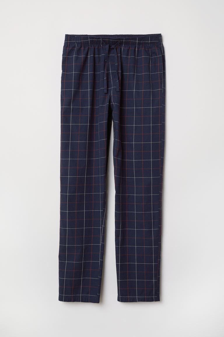 Pajama Pants - Dark blue/checked - Men | H&M CA