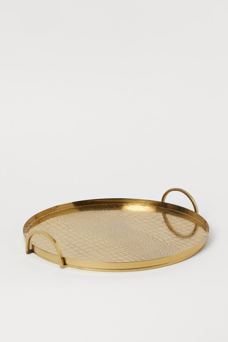 Round Metal Tray - Gold-colored/crocodile-pattern - Home All | H&M US