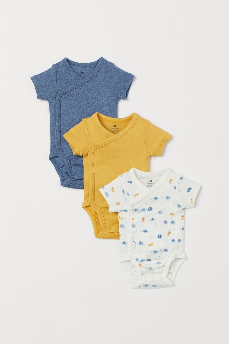 3-pack wrapover bodysuits - Yellow/Elephants - Kids | H&M GB