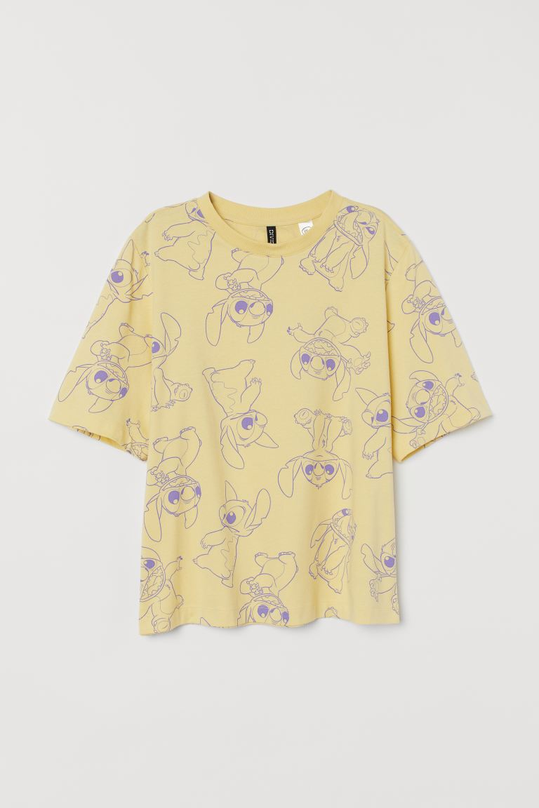 Oversized T-shirt with a motif - Light yellow/Lilo & Stitch - Ladies | H&M