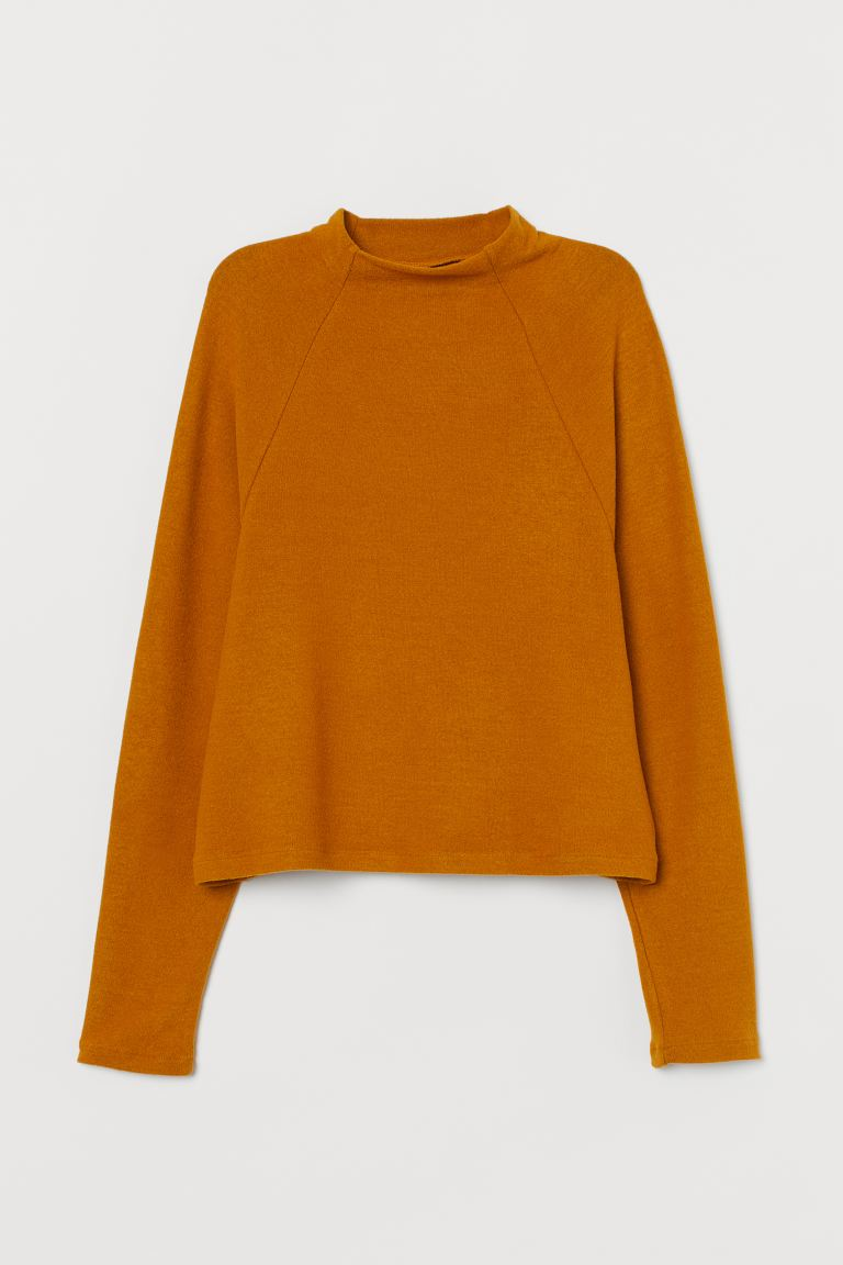Stand-up collared top - Dark mustard yellow - Ladies | H&M GB