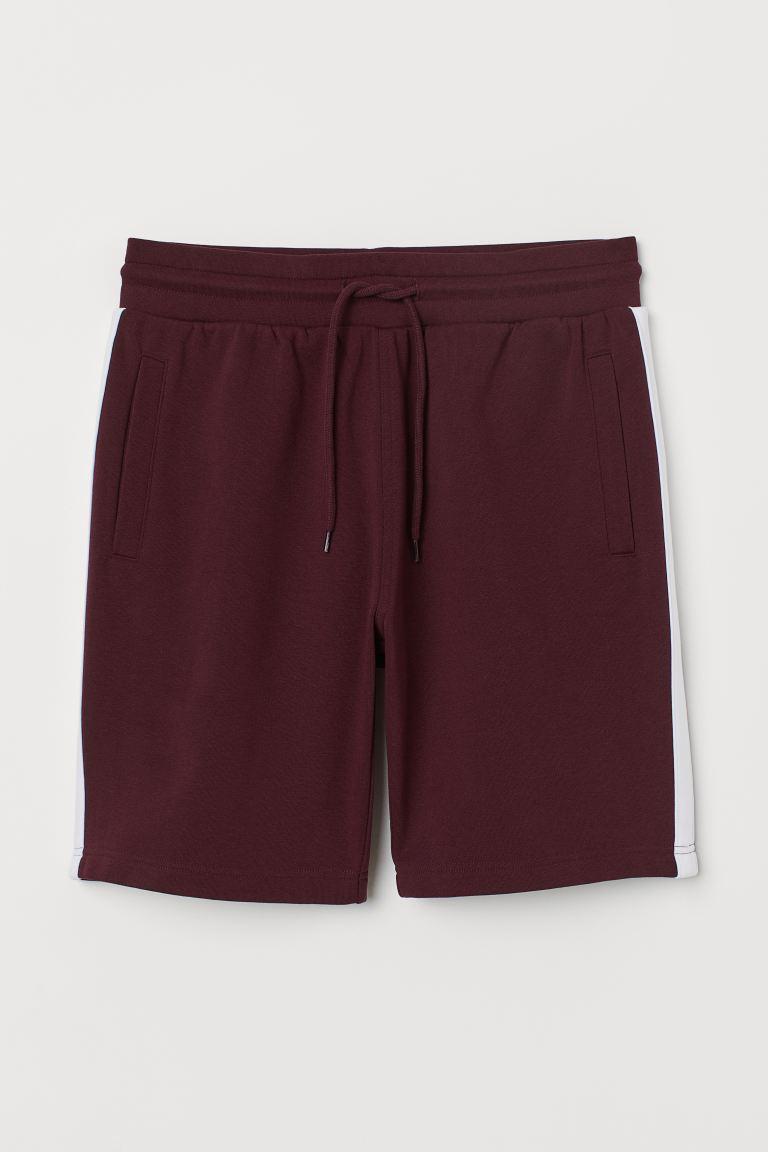 Side-stripe sweatshirt shorts - Burgundy - Men | H&M GB
