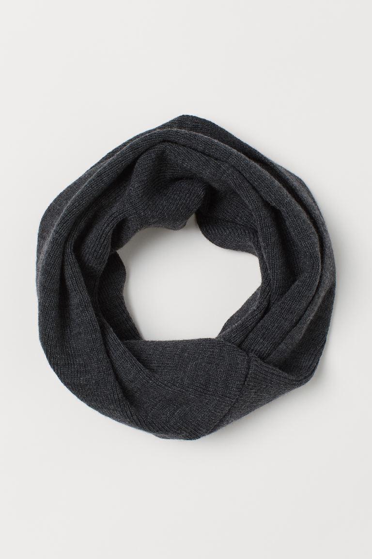 Knitted tube scarf - Dark grey -    H&M GB