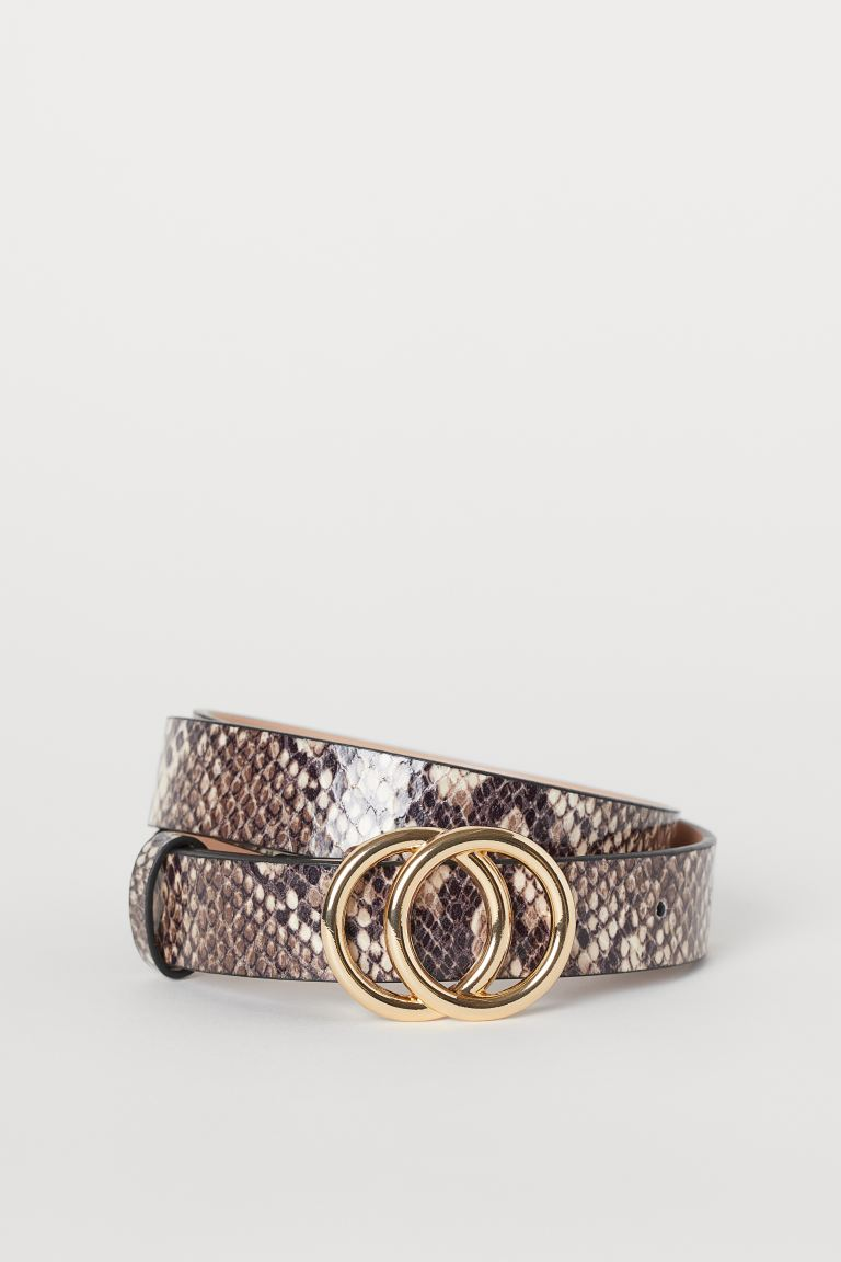 Narrow belt - Beige/Snakeskin-patterned - Ladies | H&M IE