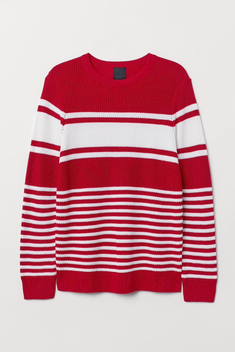 Textured-knit jumper - Red/White striped - Men | H&M