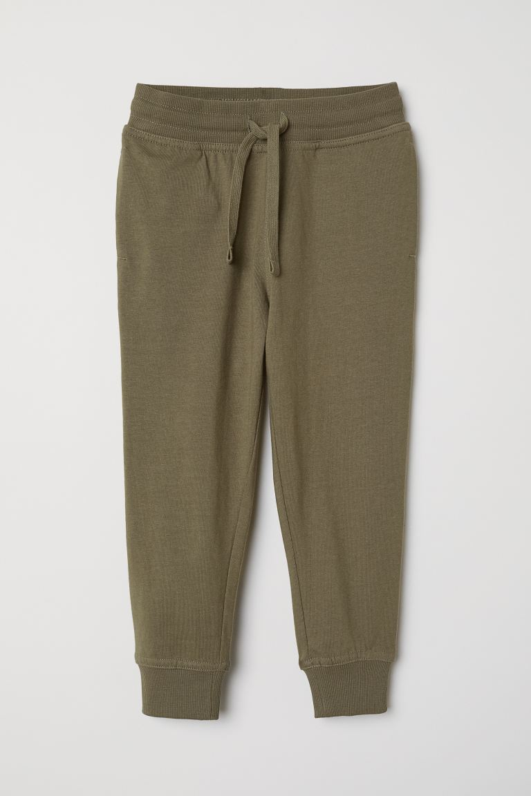 Cotton jersey joggers - Dark khaki green -  | H&M