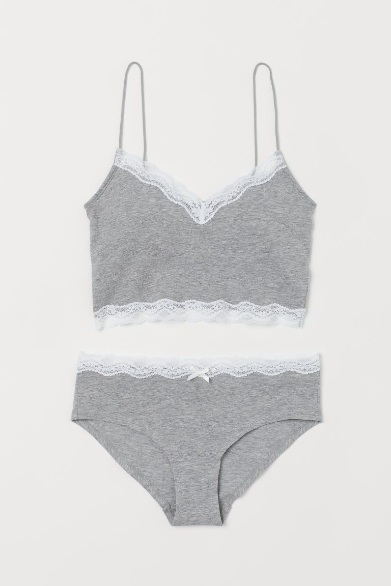 Set mit BH-Top und Slip - Hellgraumeliert - Ladies | H&M DE
