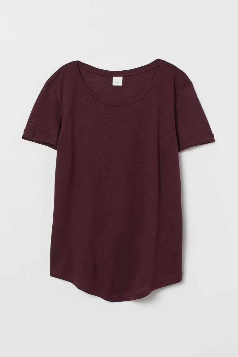 Modal-blend T-shirt - Burgundy - Ladies | H&M GB