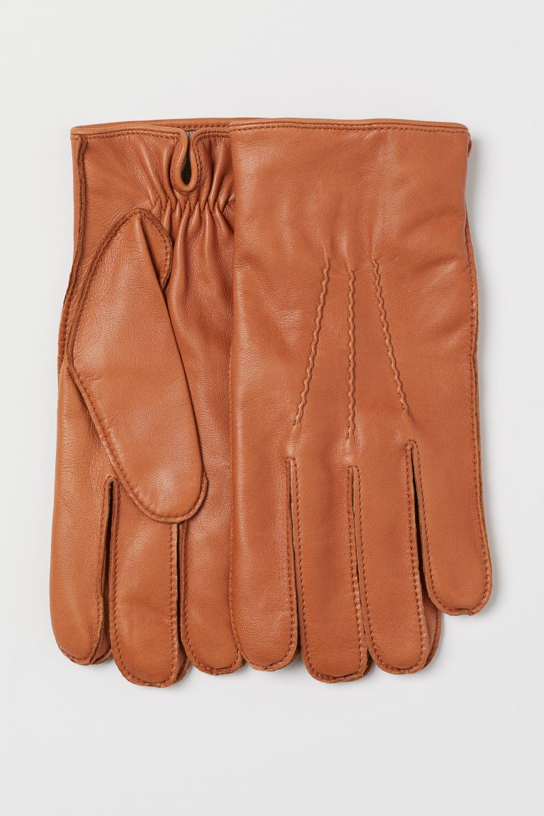 Leather gloves - Cognac brown - Men | H&M