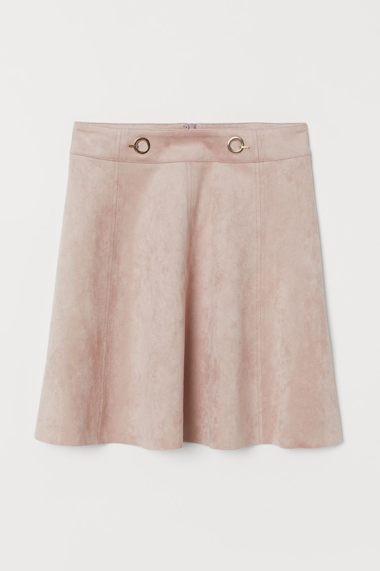 Short Faux Suede Skirt - Dusky pink - Ladies | H&M CA