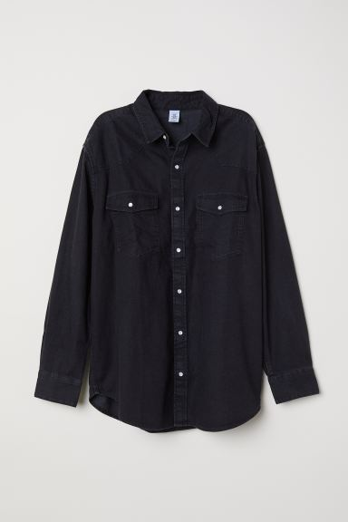 Oversized denim shirt - Black - Ladies | H&M CA