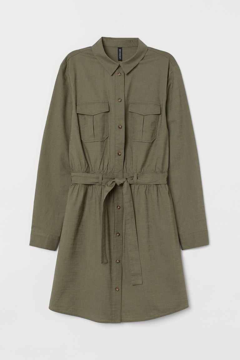 Cotton utility dress - Khaki green -  | H&M GB
