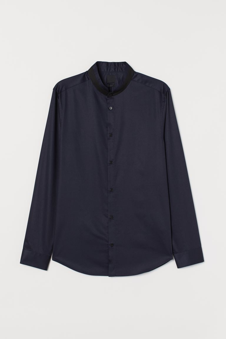 Cotton grandad shirt Slim Fit - Dark blue - Men | H&M GB