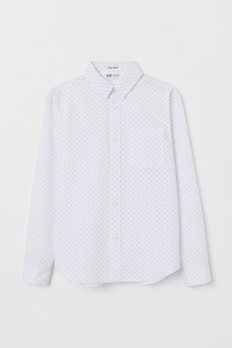Easy-iron shirt - White/Blue spotted - Kids | H&M