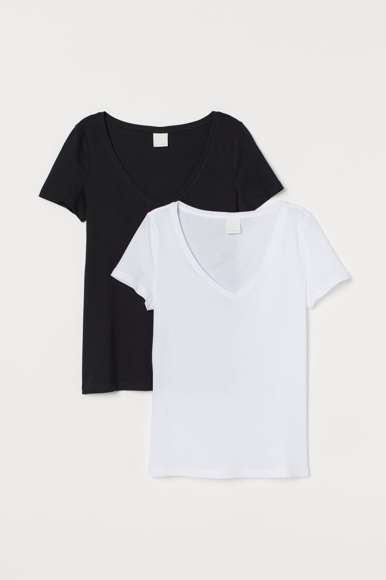 Set van 2 T-shirts met V-hals - Zwart/wit - DAMES | H&M BE