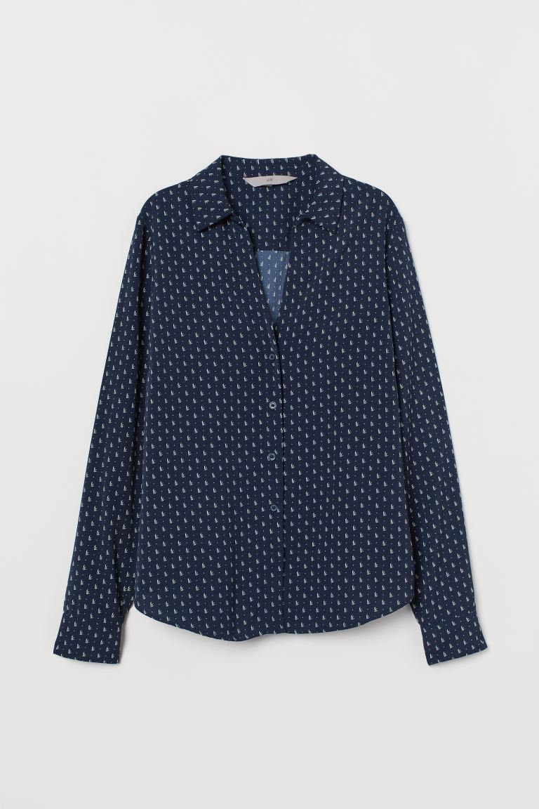 V-neck blouse - Dark blue/Patterned - Ladies | H&M IN