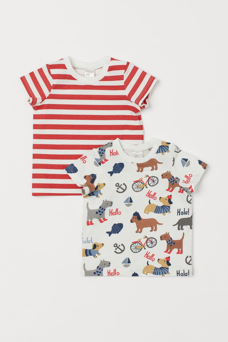 2-pack Jersey T-shirts - White/dogs - Kids | H&M US