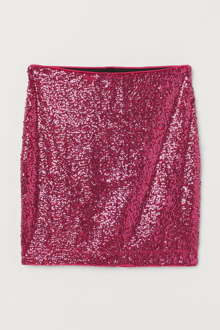 Shimmery Skirt - Pink/sequins - Ladies | H&M US
