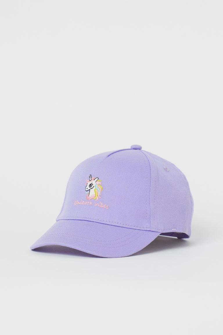 Appliquéd twill cap - Light purple/Unicorn - Kids | H&M GB