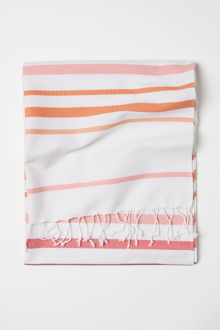 Beach Towel with Fringe - White/striped - Home All | H&M CA