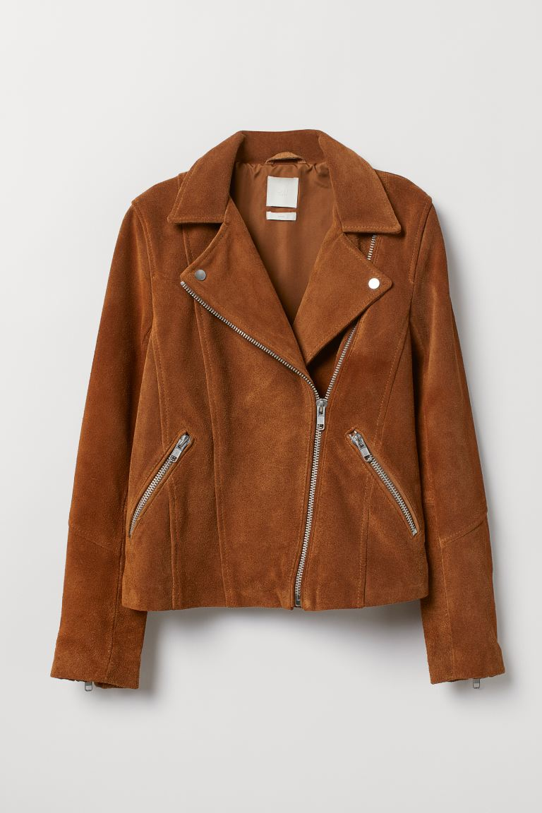 Suede Biker Jacket - Brown - Ladies | H&M US