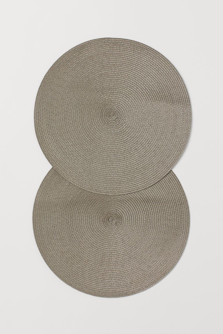 2-pack round table mats - Greige - Home All | H&M GB