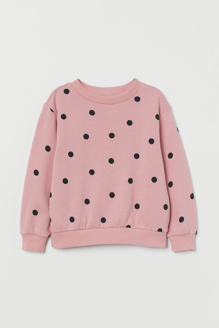 Sweatshirt - Powder pink/black dotted - Kids | H&M US