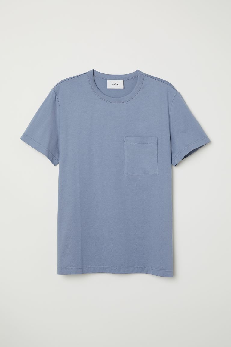 T-shirt with a chest pocket - Pigeon blue - Men | H&M GB