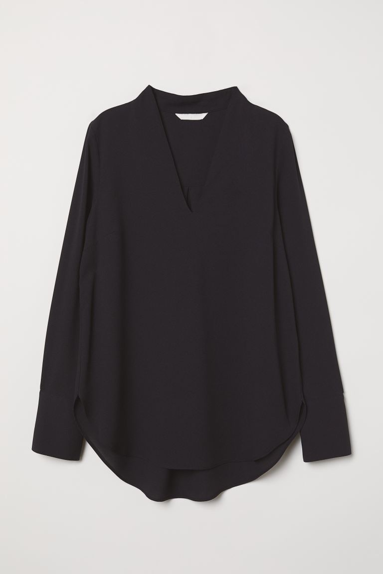 V-neck blouse - Black - Ladies | H&M IN