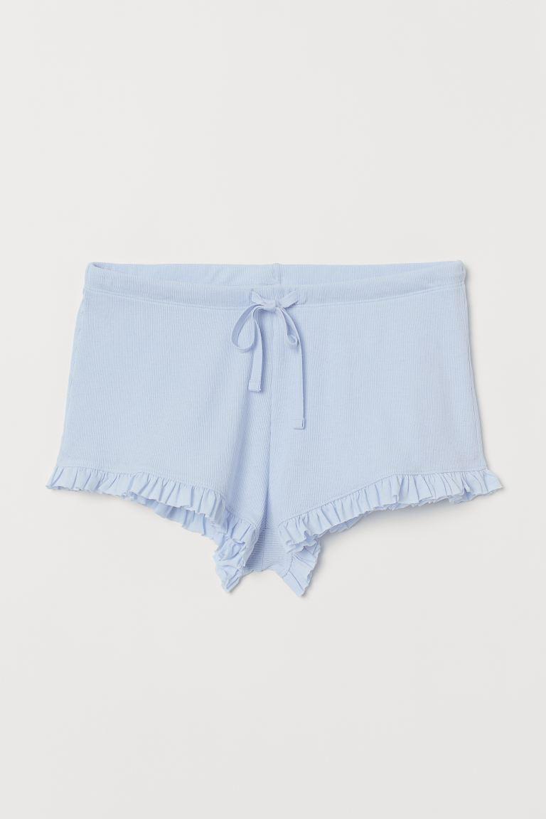 Ribbed pyjama shorts - Light blue - Ladies | H&M GB
