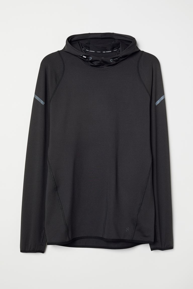 Hooded running top - Black - Men | H&M
