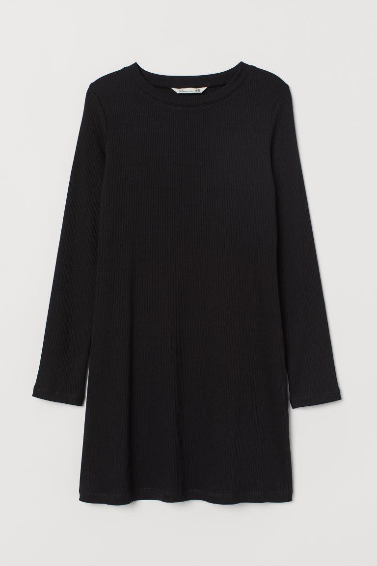 Ribbed Dress - Black - Kids | H&M US