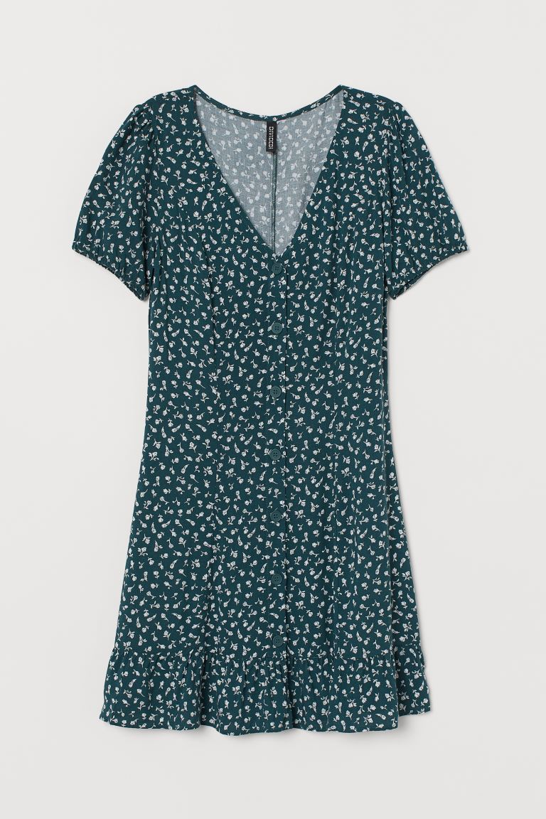 Dress with Buttons - Dark green/floral - Ladies | H&M CA