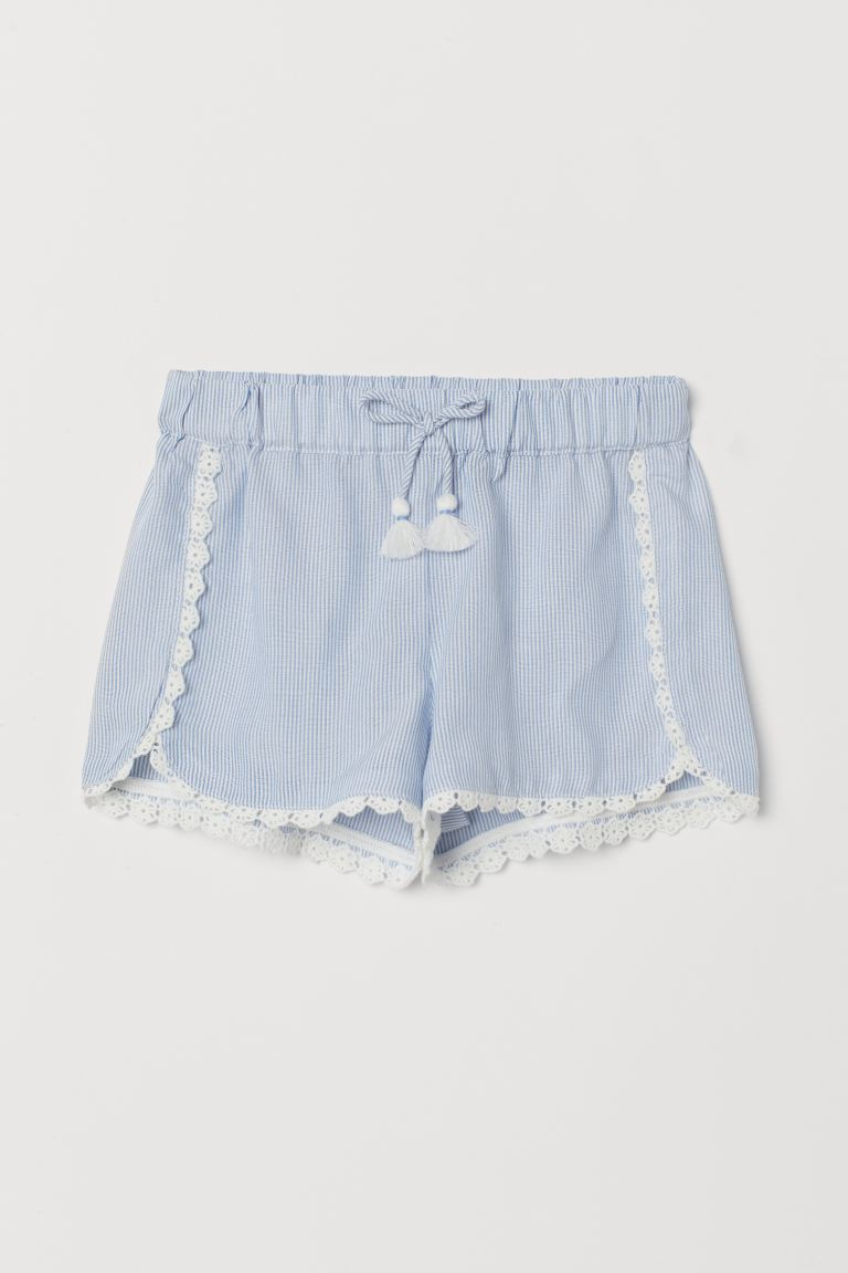 Lace-trimmed shorts - Blue/White striped - Kids | H&M GB