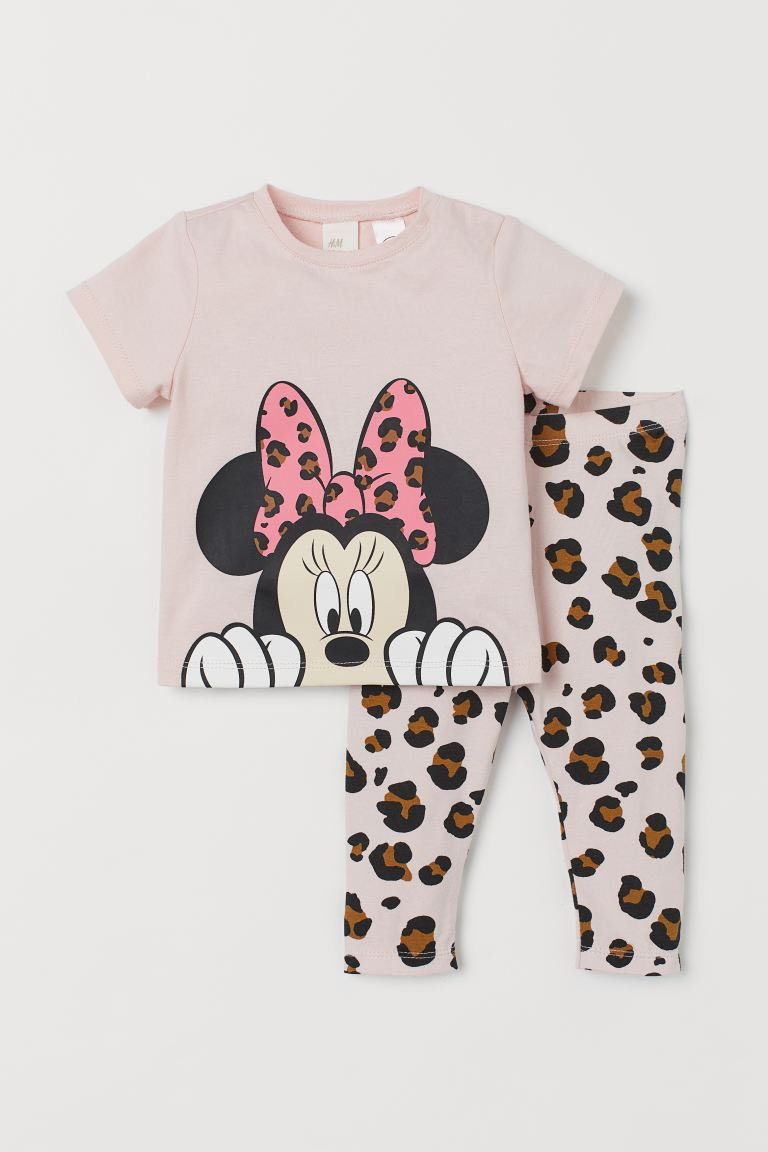 2-piece Cotton Set - Powder pink/Minnie Mouse - Kids | H&M CA
