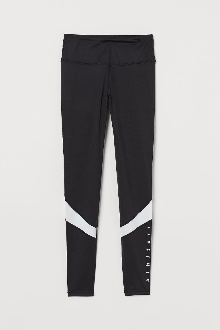 Sports tights Shaping Waist - Black/White - Ladies | H&M