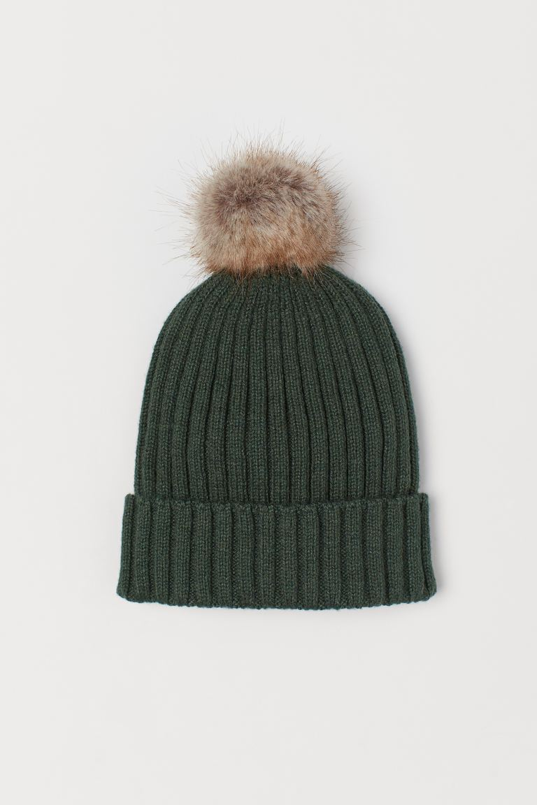 Ribbed hat - Dark green -    H&M GB