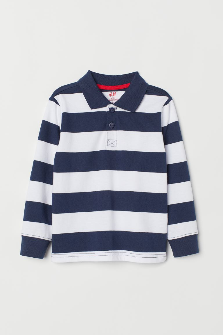 Rugby Shirt Navy Blue White Striped