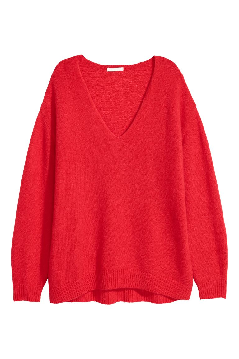 Fine-knit Sweater - Bright red - Ladies | H&M CA