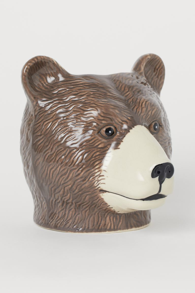 Cache-pot en céramique - Marron foncé/ours - Home All | H&M FR
