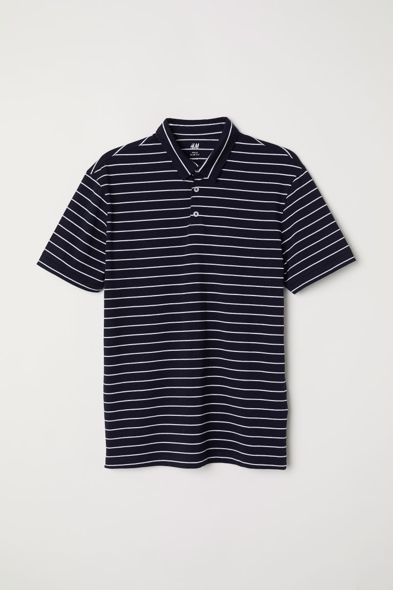 Polo Slim Fit - Blu scuro/righe - UOMO | H&M IT