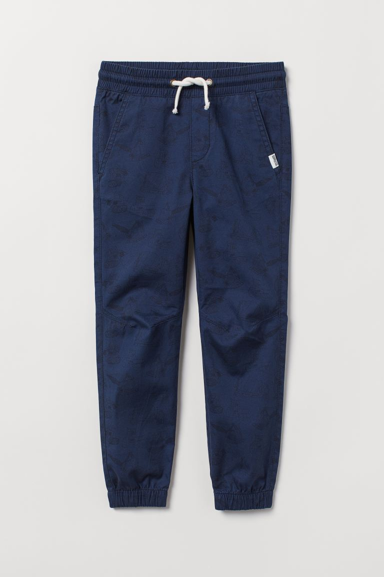Cotton pull-on trousers - Dark blue/Vehicles - Kids | H&M