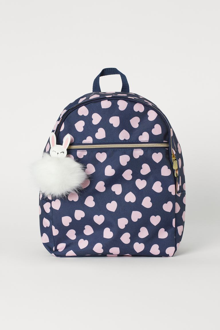 Backpack with appliqué - Dark blue/Hearts -  | H&M GB