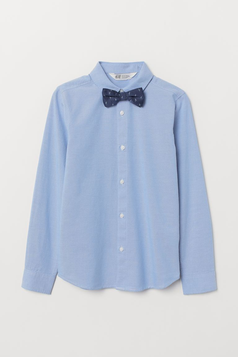 Shirt with Tie/Bow Tie - Light blue/bow tie - Kids | H&M US