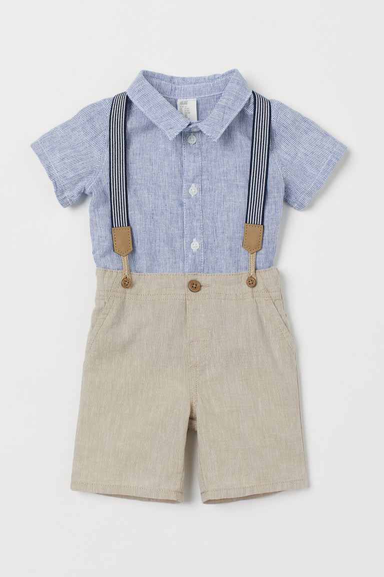2-piece Set with Suspenders - Light blue/light beige - Kids | H&M US