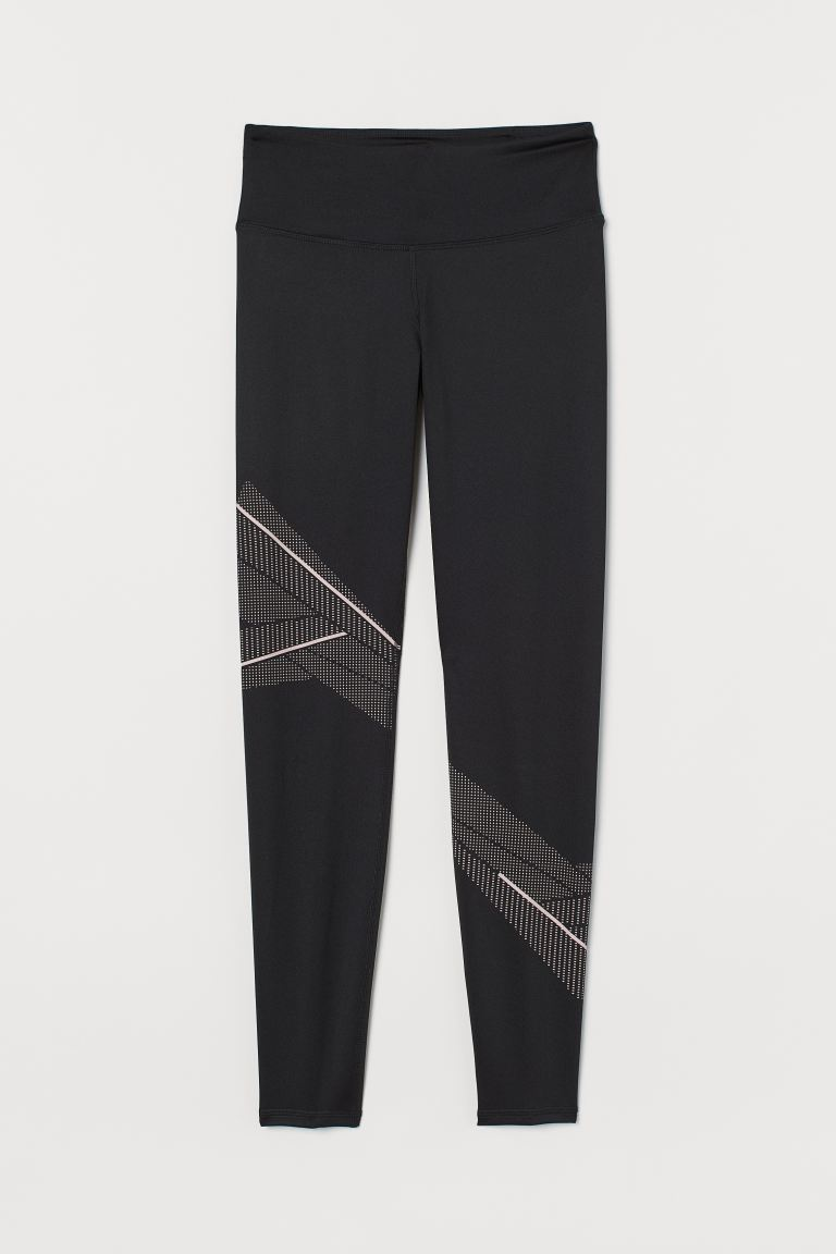 Sports tights Shaping Waist - Black/Powder pink - Ladies | H&M IE