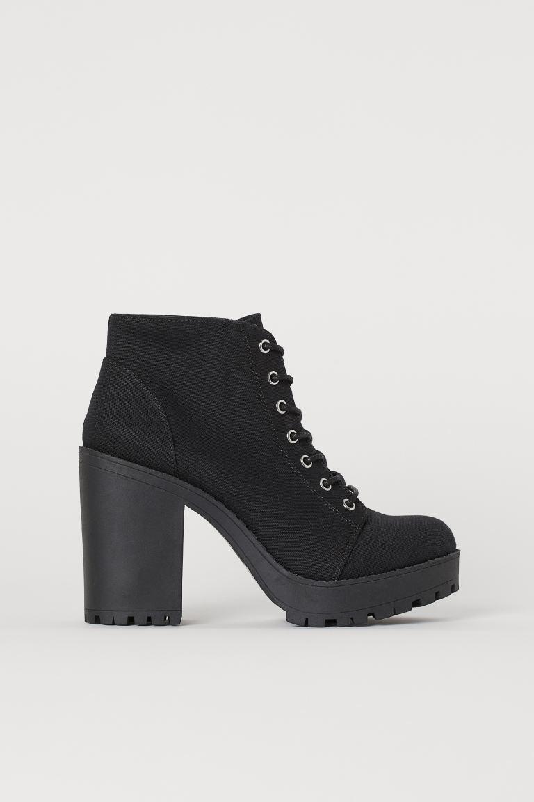 o selecție uriașă de prețuri de vânzare cu amănuntul super calitate Botine cu platformă - Negru/pânză - FEMEI   H&M RO