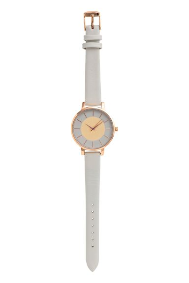 Watch with a leather strap - Light grey - Ladies | H&M GB