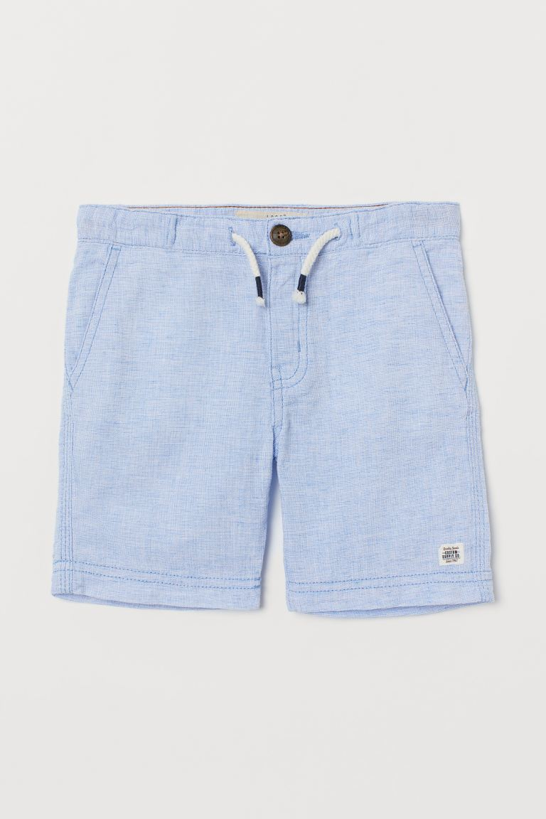 Linen-blend shorts - Light blue - Kids | H&M